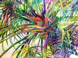 Palm Splash Watercolor Painting