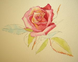 Leaves on Rose in Watercolor