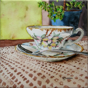 Tea Time, Watercolor on Canvas