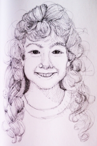 Drawing of young girl with curly hair.